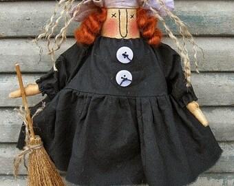 Wynnda Witch EPATTERN -primitive halloween witch cloth doll craft digital download sewing pattern- PDF-1.99
