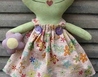 Faye Frog EPATTERN - primitive country cloth doll craft spring summer digital download sewing pattern - 1.99 - PDF