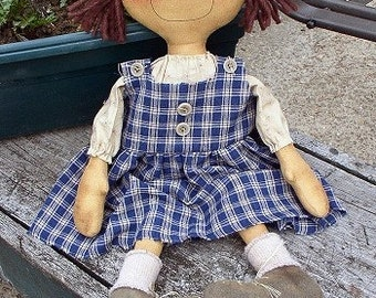 Jennie EPATTERN - primitive country cloth doll craft digital download sewing pattern - 1.99 - PDF