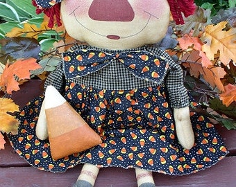 Candy Corn Annie EPATTERN -primitive country halloween raggedy cloth doll digital download sewing pattern - PDF - 1.99