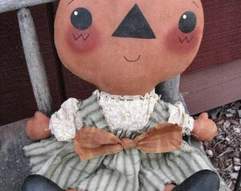 Pixie Pumpkin EPATTERN - primitive country halloween pumpkin head cloth doll craft digital download sewing pattern - PDF - 1.99