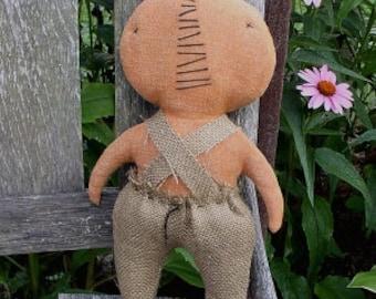 Lil Pumpkin Man EPATTERN - primitive halloween cloth doll craft ornament digital download sewing pattern - PDF - 1.99