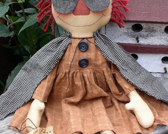 Trick R Treat Annie EPATTERN - primitive country halloween raggedy cloth doll craft digital download sewing pattern - PDF - 1.99