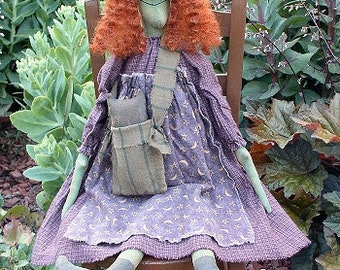 Haggie Lou EPATTERN - primitive halloween witch cloth doll craft digital download sewing pattern - PDF - 1.99