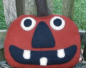 Happy Jack EPATTERN - primitive halloween wool pumpkin craft cloth doll digital download sewing pattern - PDF - 1.99