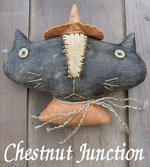 Kitty Boo EPATTERN - primitive country halloween black cat cloth doll craft ornament digital download sewing pattern - 1.99 - PDF
