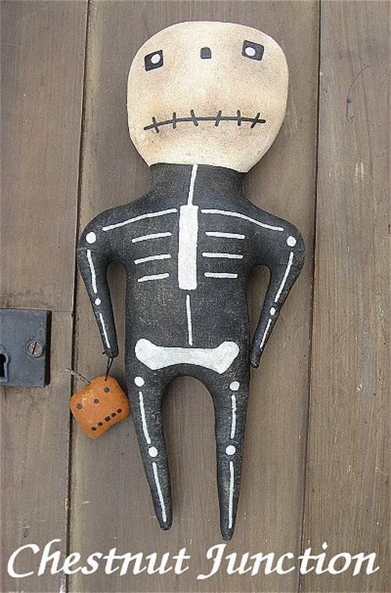 Mr. Bones EPATTERN -primitive country halloween cloth doll craft skeleton skull digital download sewing pattern- PDF - 1.99