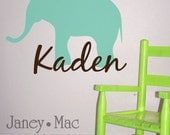 Elephant with Name Vinyl Wall Decal - Elephant Vinyl Sticker with Custom Name - Safari Jungle - Children's Bedroom Nursery - CM101B