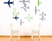 Airplane Wall Sticker Decal - Vinyl Plane Wall Decor Sticker - Boy Vinyl Wall Art - CB112A