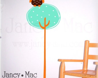 Modern Tree with Owl Wall Decal - Polka Dot Circle Tree - Vinyl Wall Art Sticker - CT123A