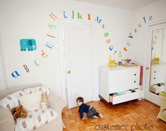 Alphabet Vinyl Wall Decal - Nursery Vinyl Alphabet Wall Decor Children's Bedroom - Modern Gender Neutral Wall Art - CL125