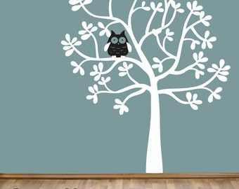 Children's Tree Wall Decal with Owl - Modern Leafy Oak Tree - Woodland Vinyl Wall Art Sticker - Nursery Bedroom Decor - CT122 - G