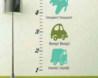 Car Truck Airplane Vinyl Wall Decal Growth Chart - Transportation Vinyl Wall Sticker - Boy Bedroom Car Vinyl Wall Art Sticker - CC101