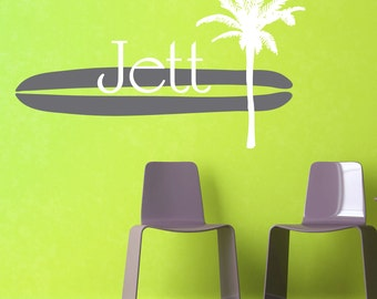 Surfboard and Palm Tree with Custom Name Wall Decal - Children's Bedroom Boy Vinyl Wall Art Sticker - Beach Ocean - CM130A