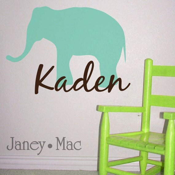 Elephant with Name Vinyl Wall Decal - Elephant Vinyl Sticker with Custom Name - Safari Jungle - Children's Bedroom Nursery - CM101