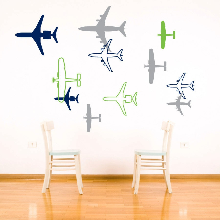 Airplane wall sticker decal vinyl plane wall decor sticker for Aeroplane wall mural