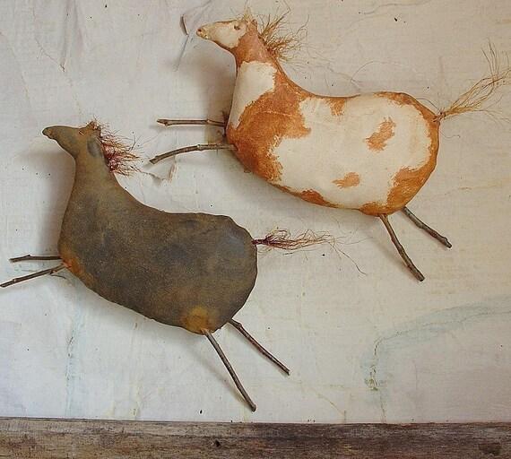 Paco and Little Cloud, A Primitive Folk Art Horse Pattern