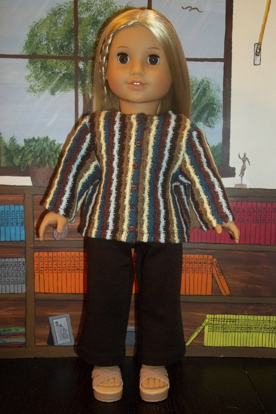 Blue and Brown Striped Knit Sweater Jacket