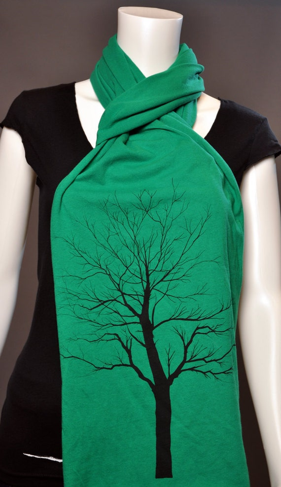 Old bare Tree print on Extra Long Kelly Green color Jersey Scarf