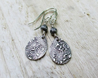 Silver Teardrop Earrings - PMC Fine Sterling Silver, Printed Paisley Floral, Artisan, Metal,