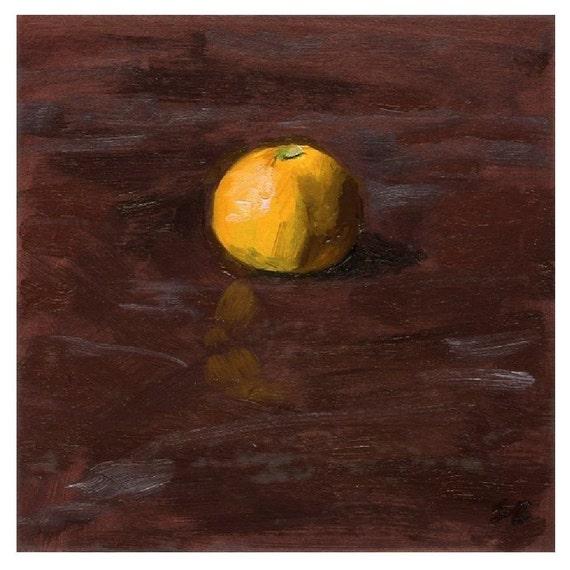 Original Framed Still Life Oil Painting of One Satsuma Mandarin Orange