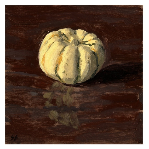 Original Framed Still Life Oil Painting of a Winter Squash - Cute and Tasty Squash