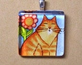 SALE... Fluffy Orange Tabby Cat Pendant... Handcrafted Glass Jewelry