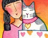 Cat Lady Art/ Original ACEO Miniature Watercolor Painting