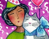 Cat Lady Art / Original ACEO Art Miniature Watercolor Painting by Susan Faye