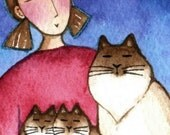 Cat Lady ACEO Art/ Himalayan Mom with Kittens/ Original Mini Watercolor Painting by Susan Faye