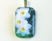 SALE... Spring Daffodils Garden Glass Pendant
