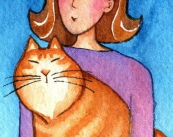 Ginger Tabby & Cat Lady/ Original ACEO Miniature Watercolor Painting by Susan Faye