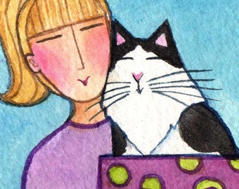 Cat Lady ACEO Art/ Original Miniature Watercolor Painting by Susan Faye