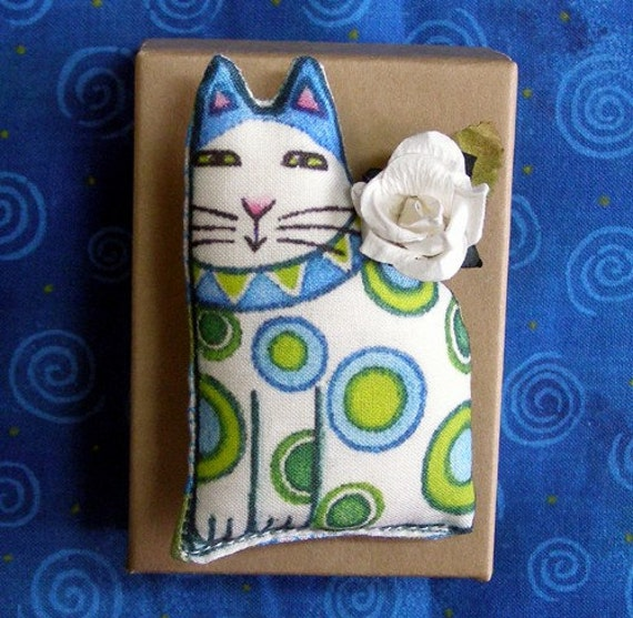 SALE... Cat Lover Brooch... Handcrafted Softie Wearable Art