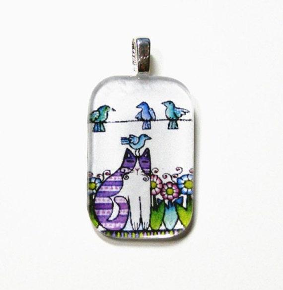 SALE... Cat Pendant for Bird Watchers... Handcrafted Glass Wearable Art Jewelry