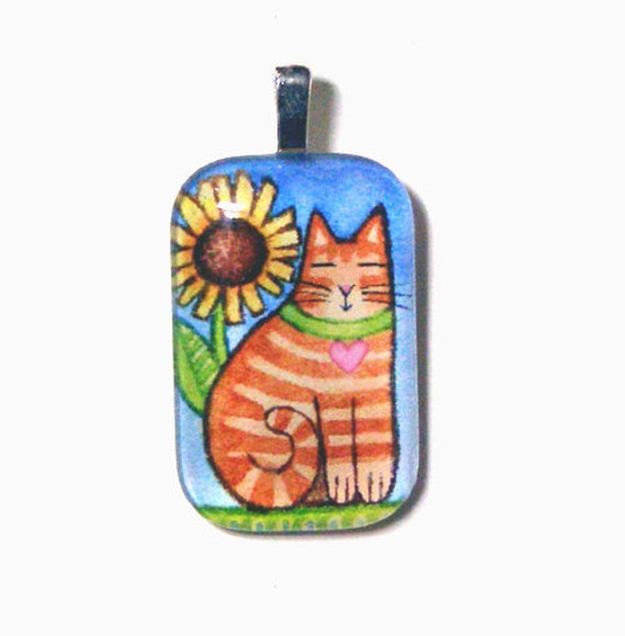 SALE Ginger Orange Tabby Cat Glass Pendant/ Handcrafted Jewelry