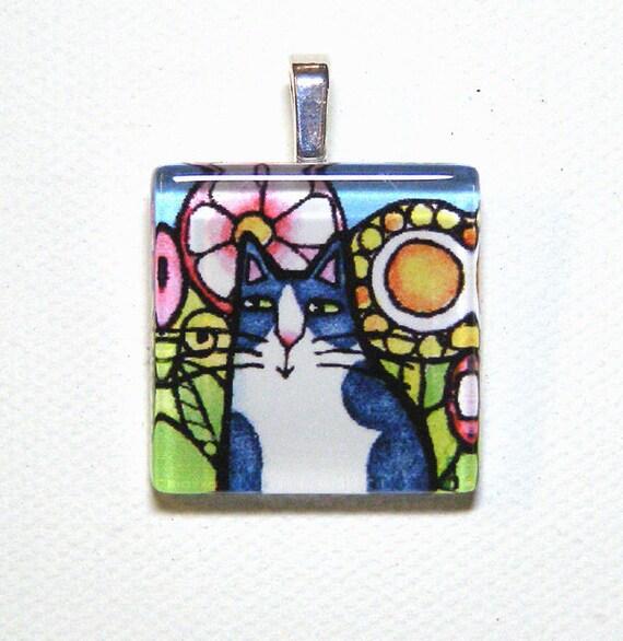 SALE... Garden Tuxedo Cat Glass Pendant... Wearable Art Jewelry for Cat Lovers