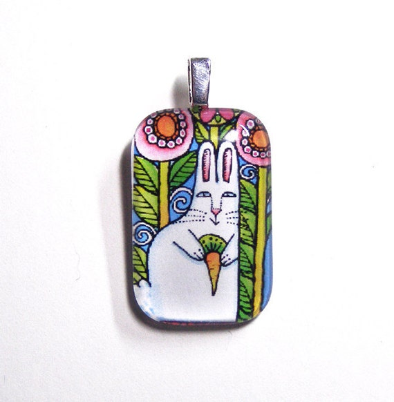 SALE Garden Bunny Rabbit Glass Art Pendant/ Girls Jewelry