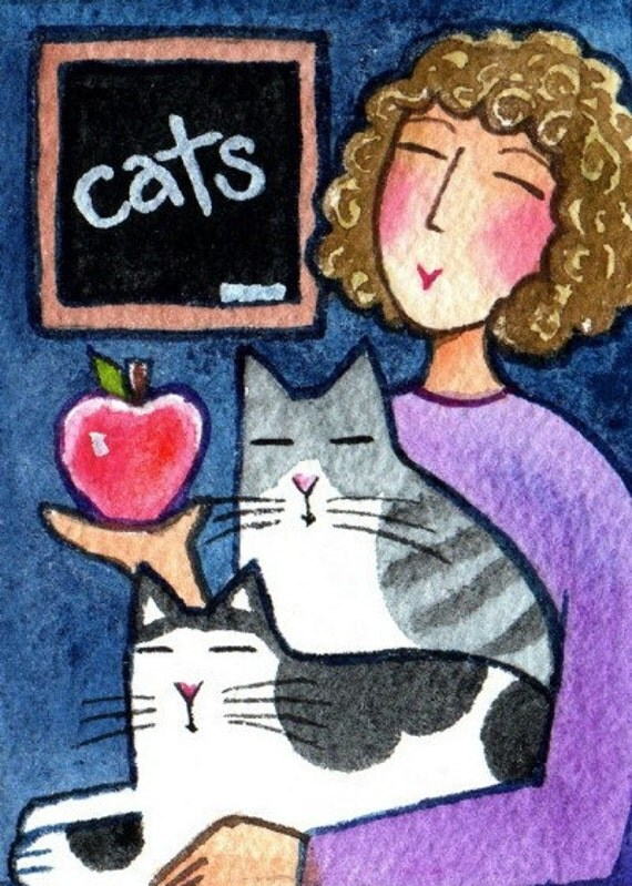 Teacher's Gift/ Cat Lady Art/ Original ACEO Watercolor Painting