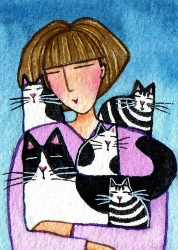 Crazy cat lady and kittens original aceo art miniature for Crazy mural lady