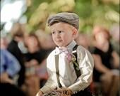 RESERVED Boys Flat Cap - Ring Bearer - 2 3 4 Years - Classic Newsboy Summer Wedding - Organic Cotton
