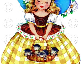 Southern Belle (Yellow and Brown) Pretty Girl with Kittens in Basket Doll Card Vintage Digital Image Illustration
