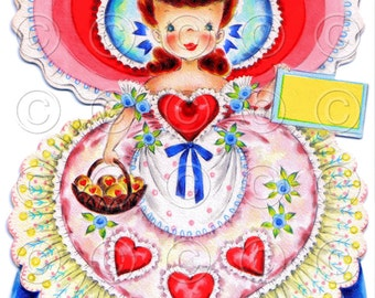 Queen of Hearts Pretty Girl with Basket of Cookies Doll Card Vintage Digital Image Illustration