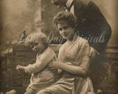 Lovely French Family with Birdcage, French Postcard Photo Scan Instant Digital Download FrA004