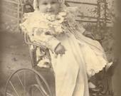 Little Freda in her Buggy, Victorian Postcard Photo Scan Instant Digital Download, DP021