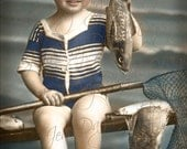 La Mer, beach seaside, I Caught a Fish -  Antique French Postcard - Beach  Instant Digital Download FrA113