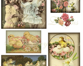 It's a Spring Thing. Digital Collage Sheet DInstant Digital Downloadfrom Scans DC018.