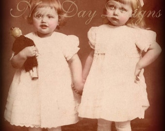 Beth and Bertie, Sisters and doll, Photo Scan, Instant Digital Download, DP019