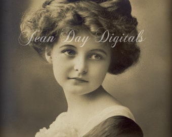 Sophie Lucine - Beautiful Young Girl - French Postcard - Photo Scan Instant Download  FrA002