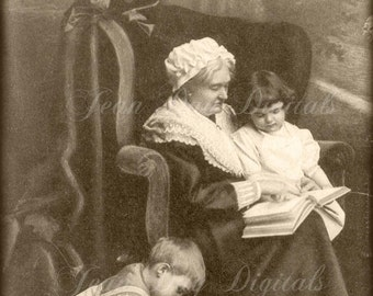 Granny reading to Beatrice and Ben, Grandmother's Love, Victorian Postcard Photo Scan Instant Digital Download, DP024
